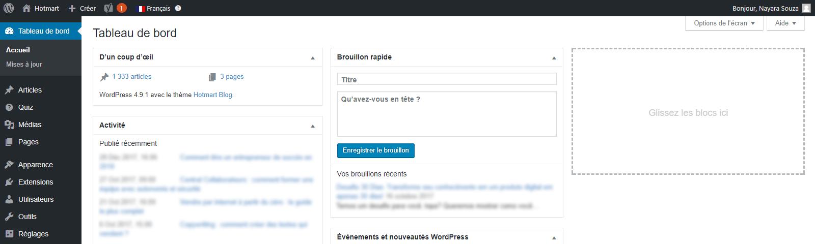 Créer un blog - Capture d'écran de la page tableau de bord du wordpress