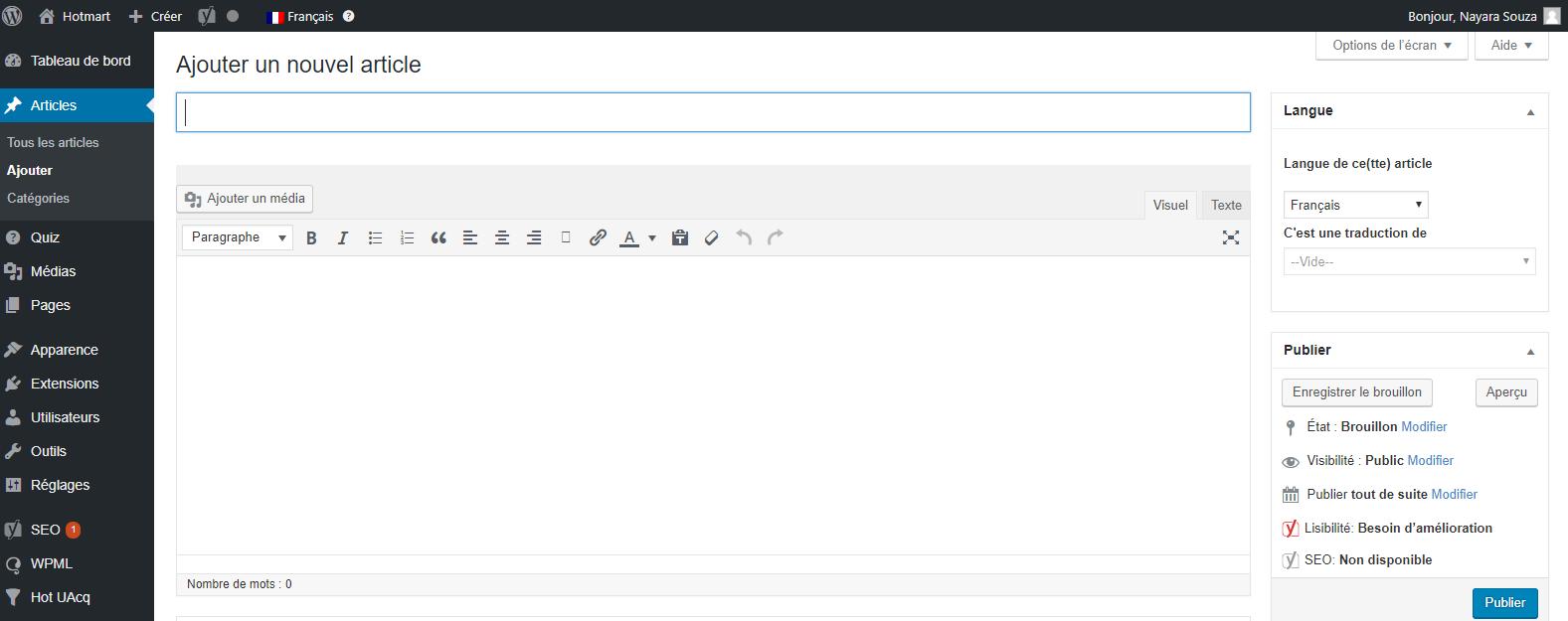 Créer un blog - Page dans laquelle vous pouvez ajueter articles
