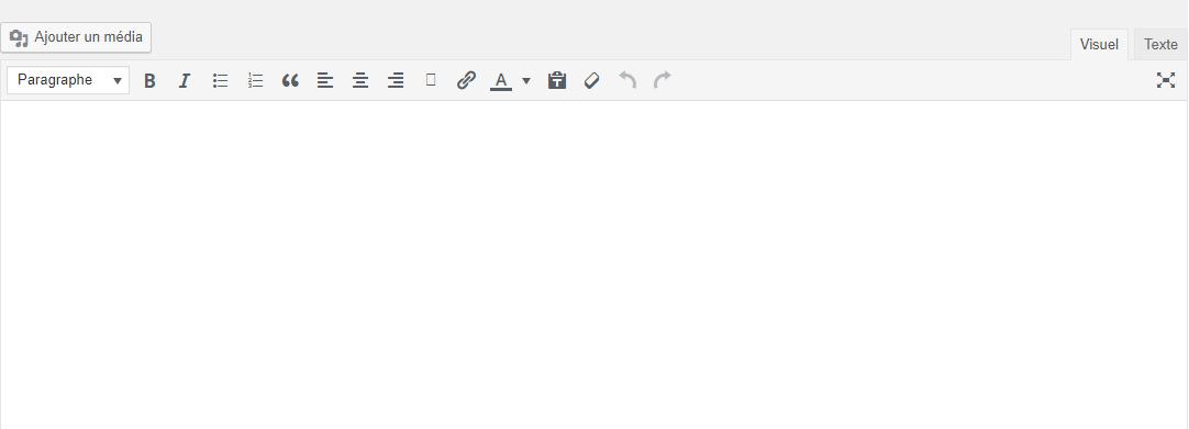 Créer un blog - Capture d'écran dans laquelle vous pouvez voir la barre d'outils pour écrire les articles