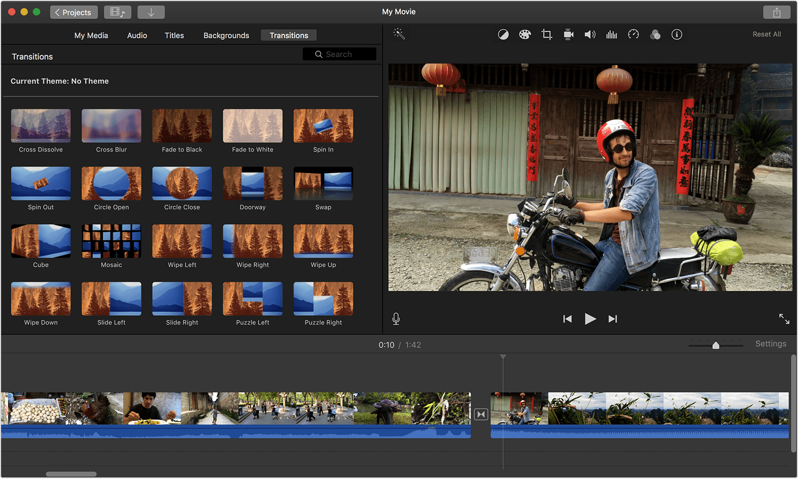 Printscreen of the iMovie's interface
