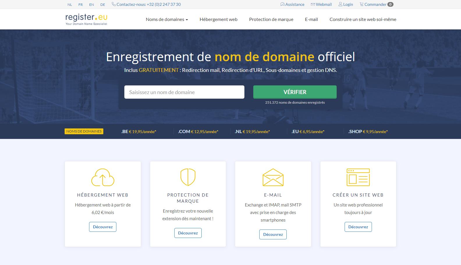 Capture d'écran du site register.eu français