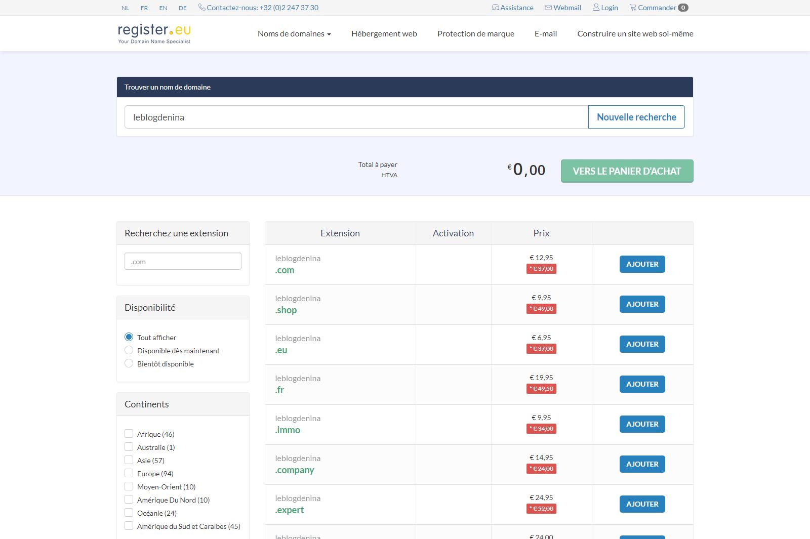 Comment crée un blog: capture d'écran de la page pour trouver un nom de domaine et acheter celui que vous voulez sur le site web register.eu/fr