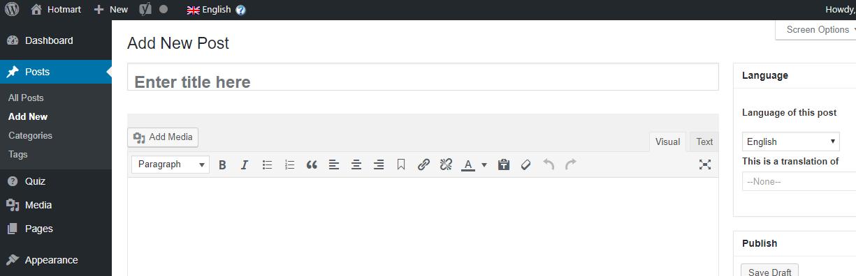 Add a new post page at WordPress
