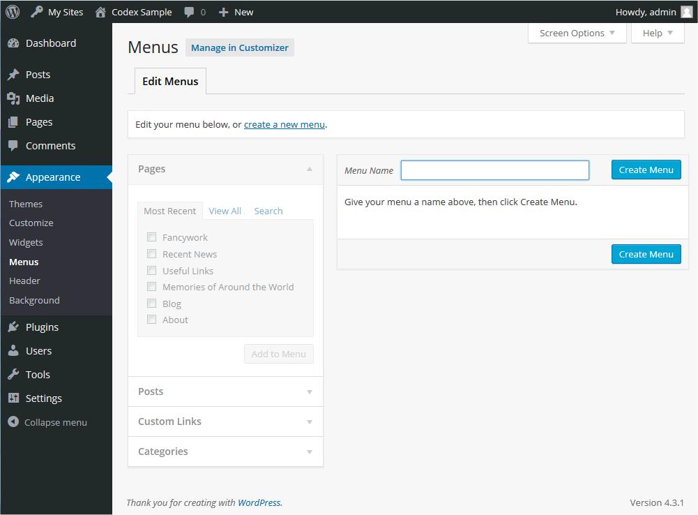 View of the WordPress dashboard