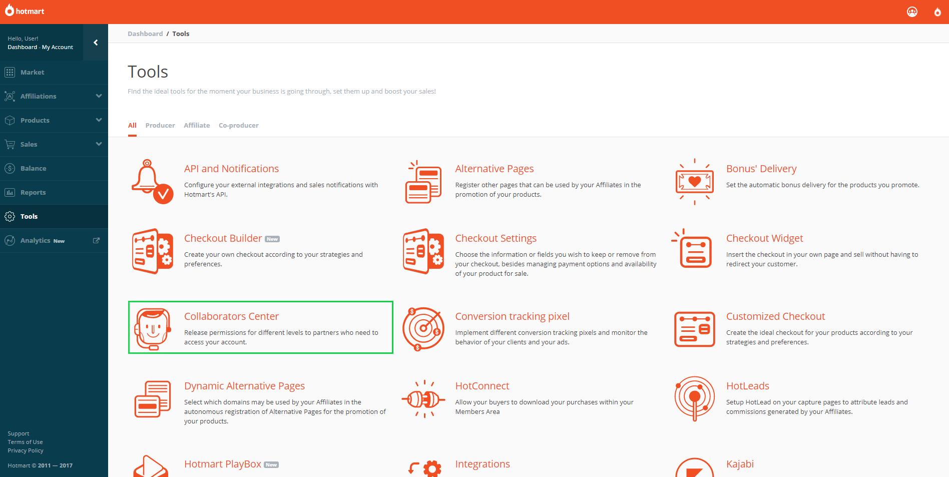 Print of the Hotmart platform in tools option
