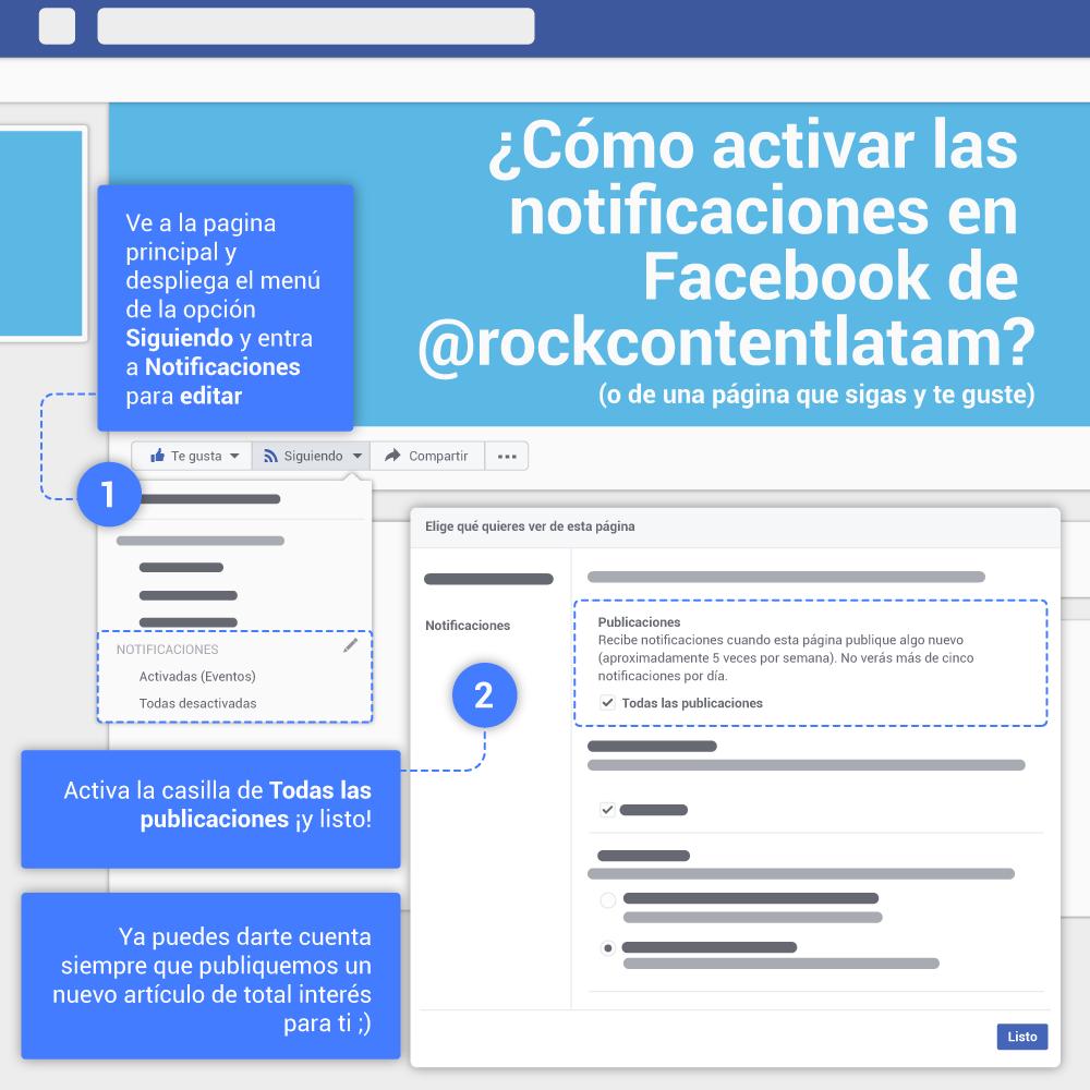 Contenidos para Facebook: activar notificaciones