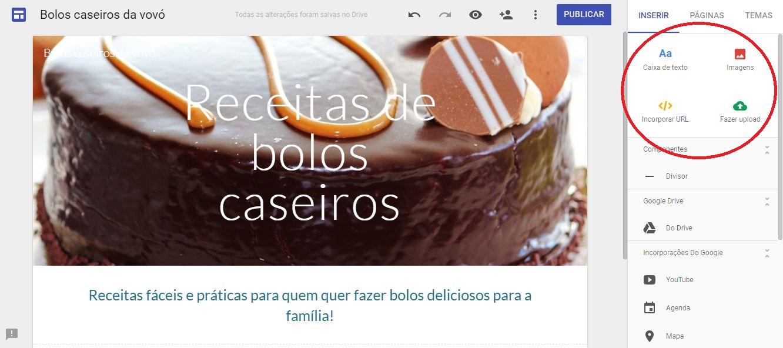 Como criar um site - imagem do Google sites com destaque para os botões que permitem adicionar textos, imagens, URLs e fazer uploads de arquivos no site