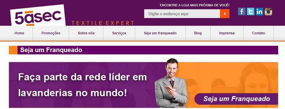Imagem da página da internet inicial da franquia de sucesso 5àsec Textil Expert