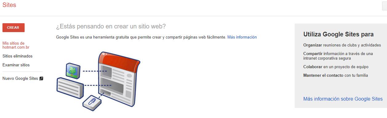 """Como crear un sitio web - imagen de la primera página de Google Sites, haz clic en el botón """"Crear"""""""
