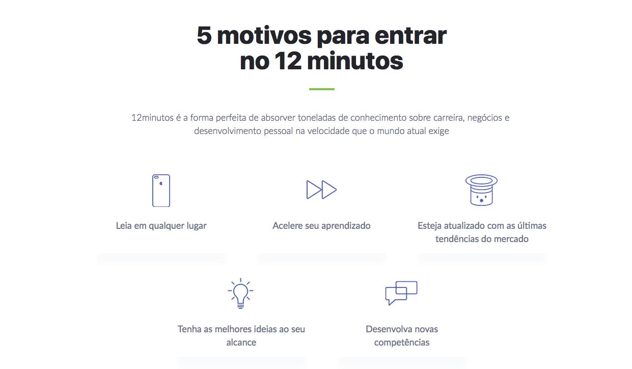 elementos de um site: imagem dos motivos para uma pessoa entrar no app da 12 minutos