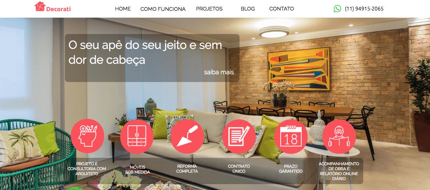 elementos de um site: imagem mostrando como funciona o serviço oferecido pela decorati