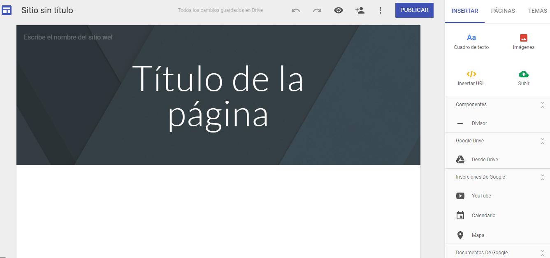 Cómo crear sitio web - página de inicio de tu sitio
