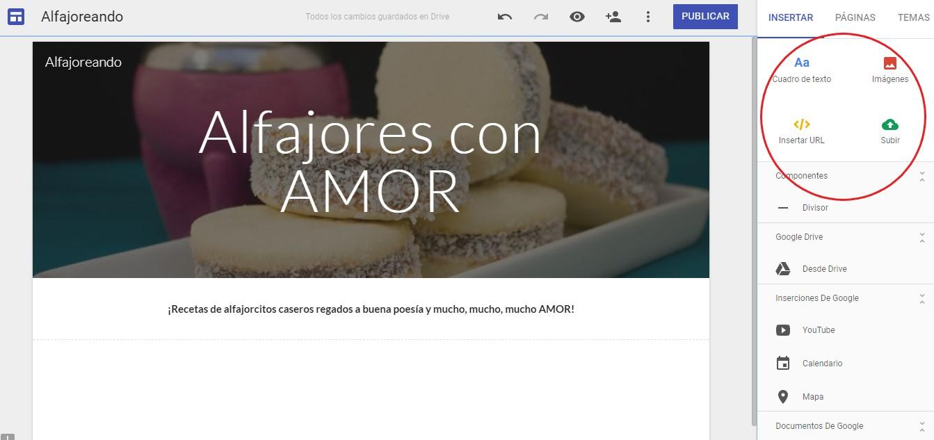 Cómo crear sitio web - Opciones para añadir texto, imágenes, incorporar una URL...