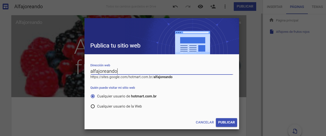"""Cómo crear sitio web - imagen que muestra la opción de añadir página al hacer clic en """"publicar"""""""