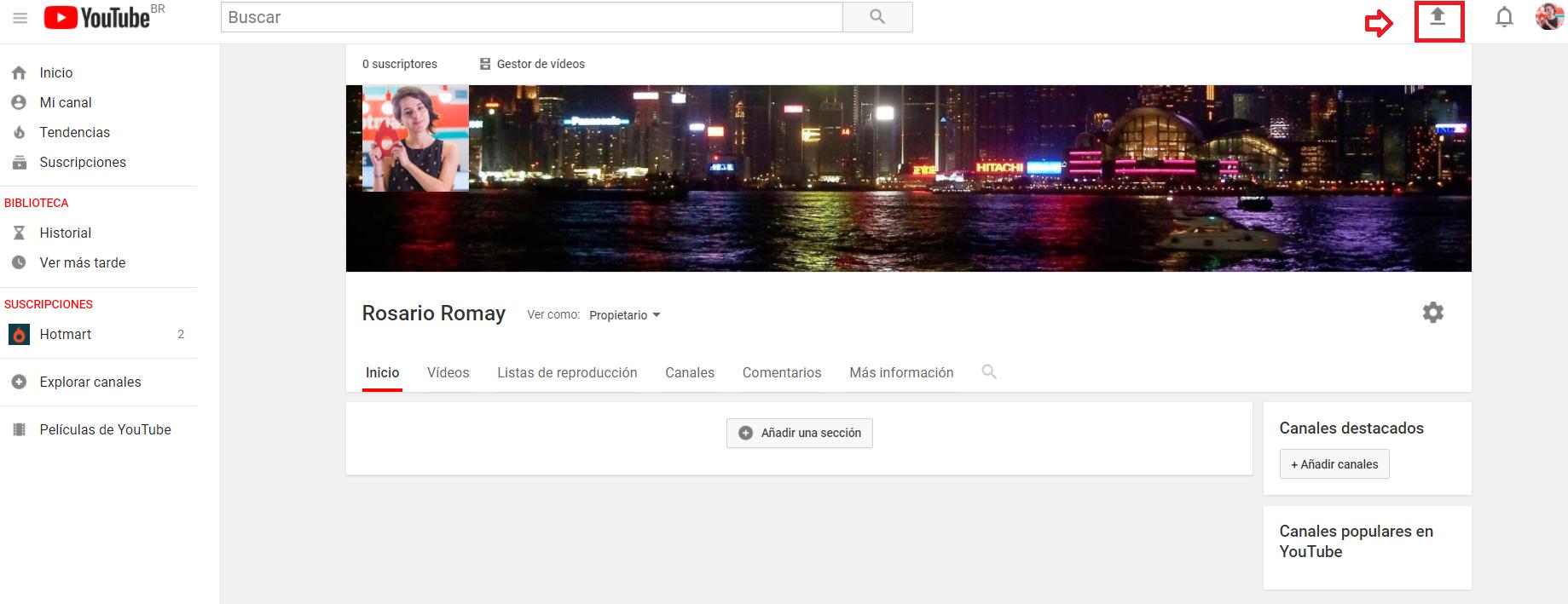 Crear un canal en YouTube - Imagen de la pantalla indicando cómo enviar vídeos