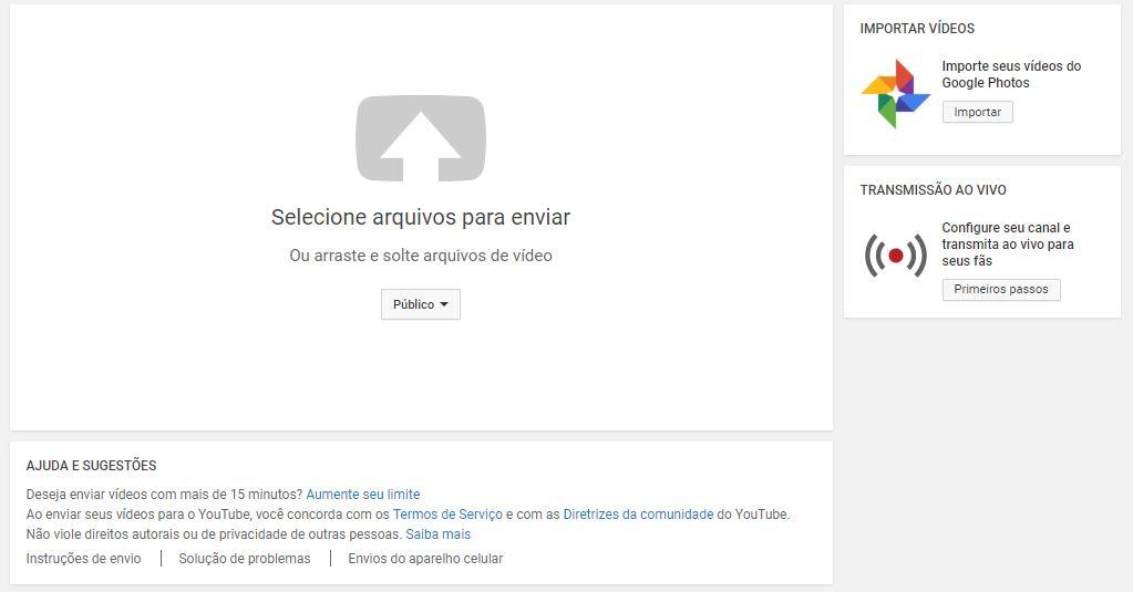 criar um canal no YouTube - imagem indicando como selecionar o arquivo desejado