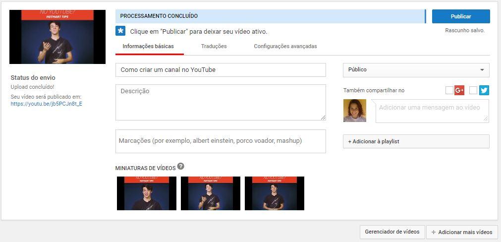 criar um canal no YouTube - imagem indicando como adicionar as informações do vídeo