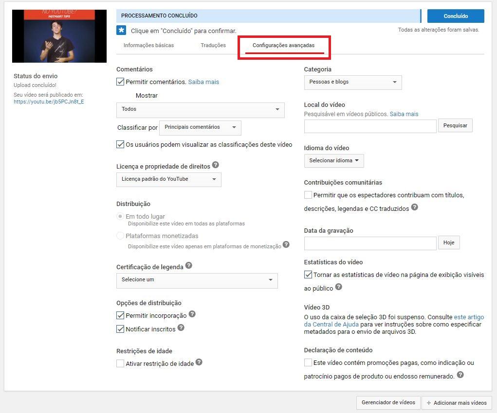 criar um canal no YouTube - imagem indicando onde está o bot~]ao de 'Configurações Avançadas'