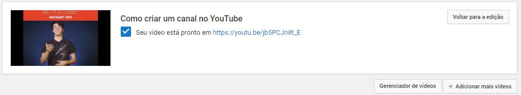 criar um canal no YouTube - imagem mostrando a tela quando o vídeo foi adicionado com sucesso