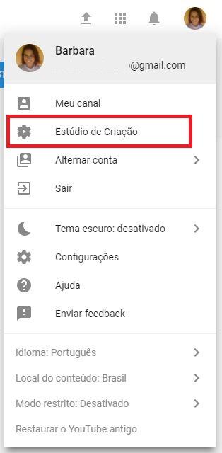 criar um canal no YouTube - imagem indicando o botão de 'Estúdio de criação'
