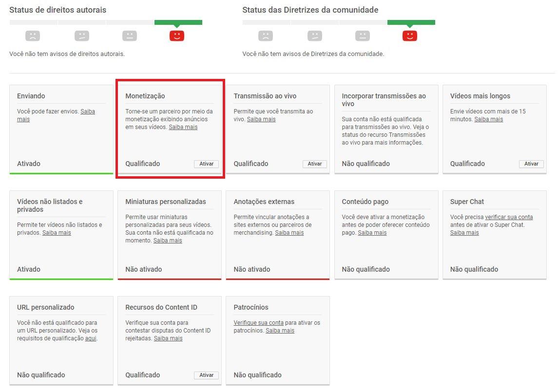 criar um canal no YouTube - imagem indicando o botão de 'monetização'