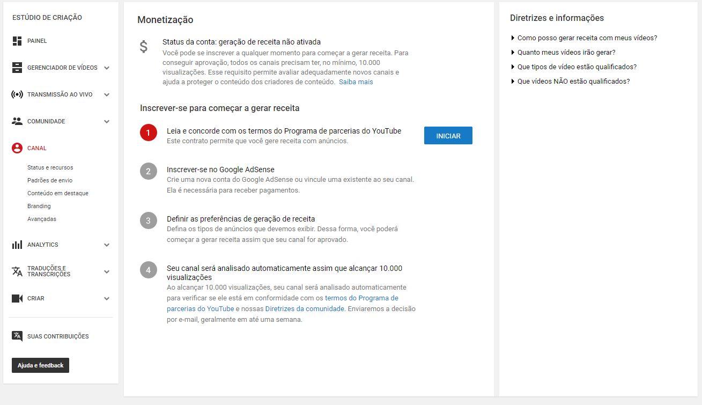 criar um canal no YouTube - imagem indicando o botão de 'Iniciar'