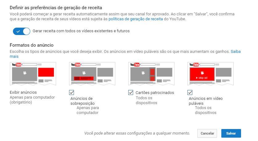 criar um canal no YouTube - imagem da tela de preferências do Google AdSense