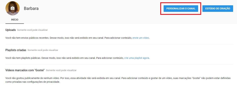 criar um canal no YouTube - imagem indicando onde clicar para personalizar o seu canal