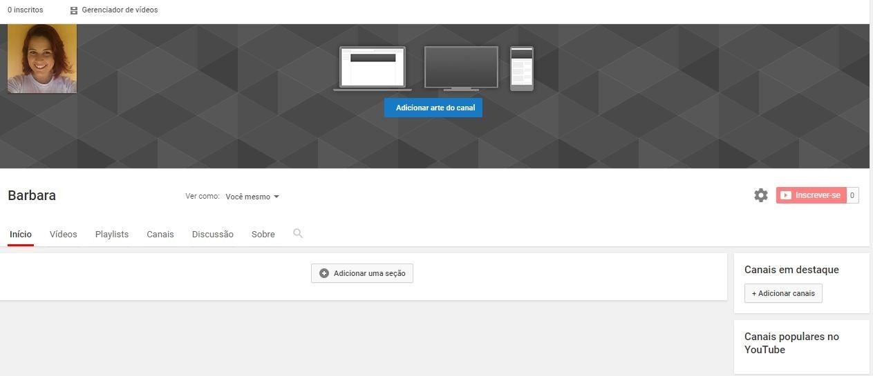 criar um canal no YouTube - imagem de um canal personalizado no youtube