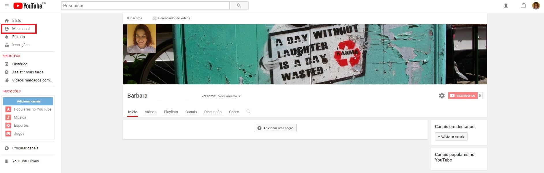 criar um canal no YouTube - imagem indicando o botão de 'Meu Canal'