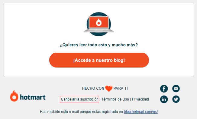 Email marketing - Ejemplo de opción para cancelar la suscripción