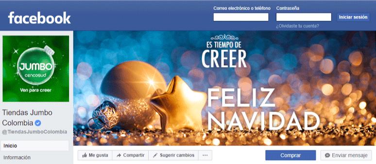 Imágenes para Facebook - imagen de la foto de portada con el tema de navidad de la fanpage de Tiendas Jumbo Colombia
