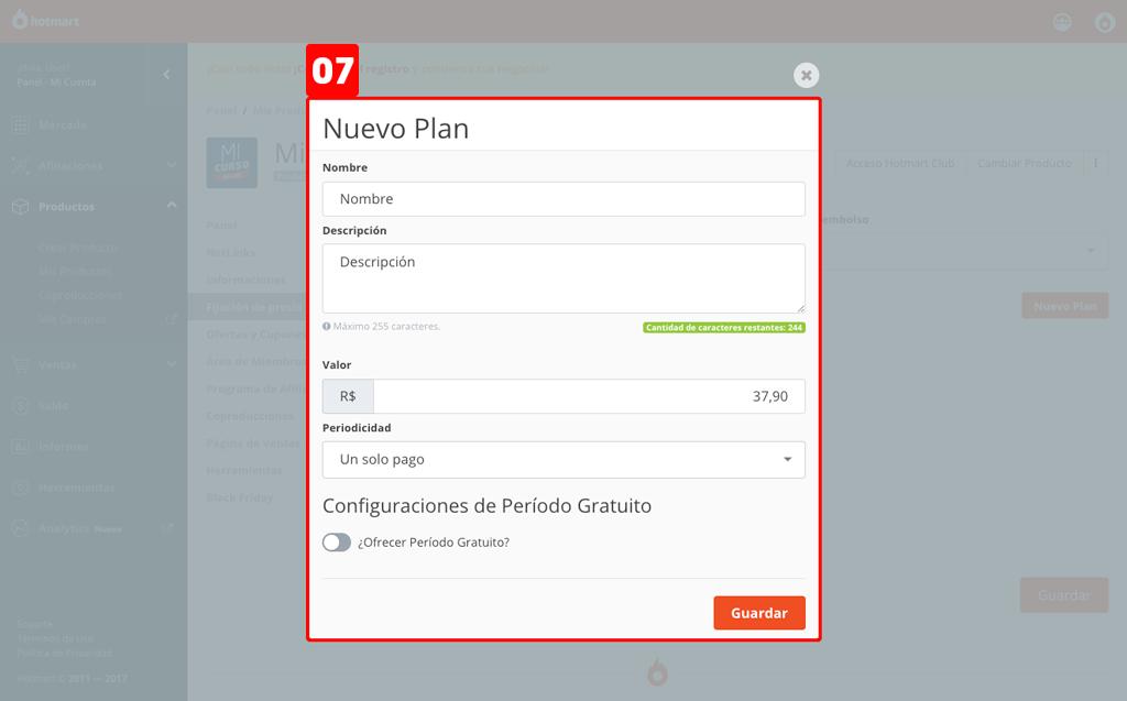 """Pantalla """"Nuevo Plan"""" de Hotmart"""