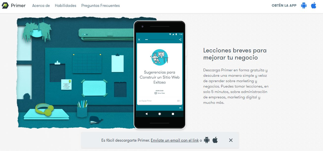 cursos de marketing digital - website de Google Primer