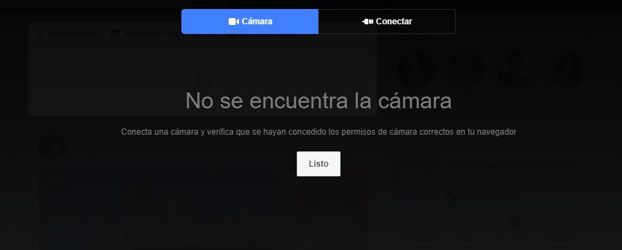 """Transmisión en vivo - captura de pantalla que muestra el mensaje """"no se encuentra la cámara"""" para hacer la transmisión"""