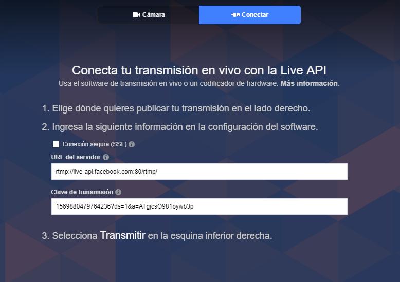 Transmisión en vivo - captura de pantalla que muestra la opción conectar