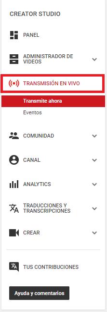 """Transmisión en vivo - captura de pantalla que muestra donde esta el botón""""Transmisión en vivo"""" en el menu del Creator Studio"""