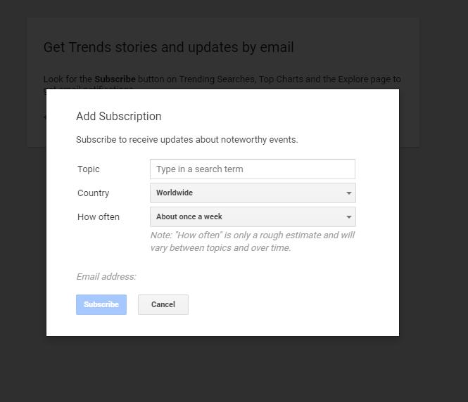 شكل يوضح إمكانية الاشتراك للحصول على تحديثات من جوجل تريندز