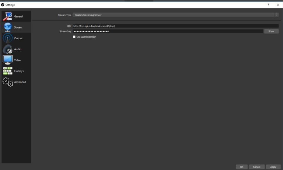 شكل يوضح كيفية لصق عنوان url ومفتاح البث في الأداة obs