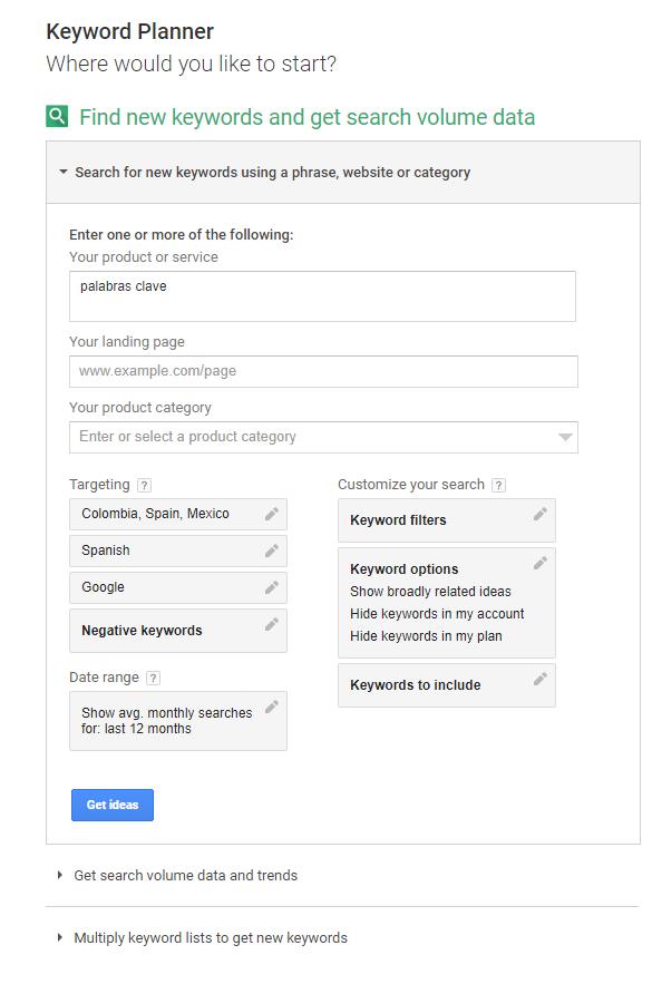 Google KeyWord Planner - Búsqueda por nuevas palabras clave