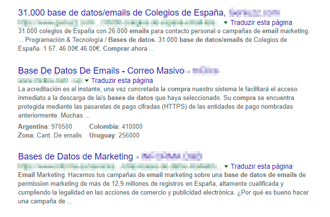 Base de datos - ejemplos de empresas que venden listas de contactos