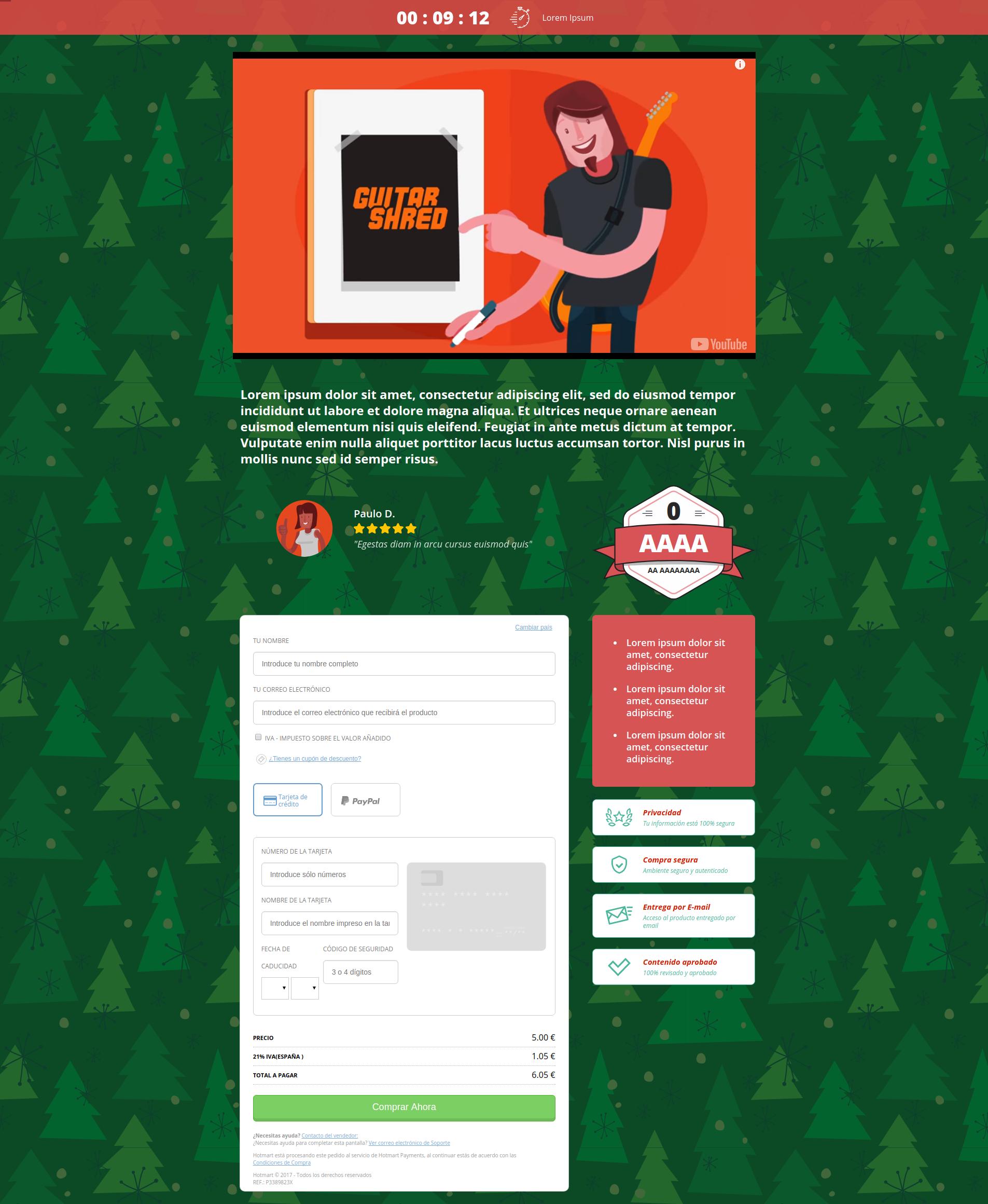 En la image, template de checkout builder para navidad hotmart