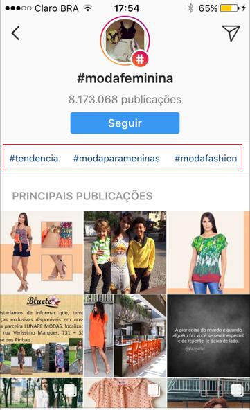 funcionalidades do Instagram - imagem da busca de hashtags no instagram