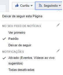 recorte de uma página no facebook, indicando o local para ativar as notificações de uma fanpage