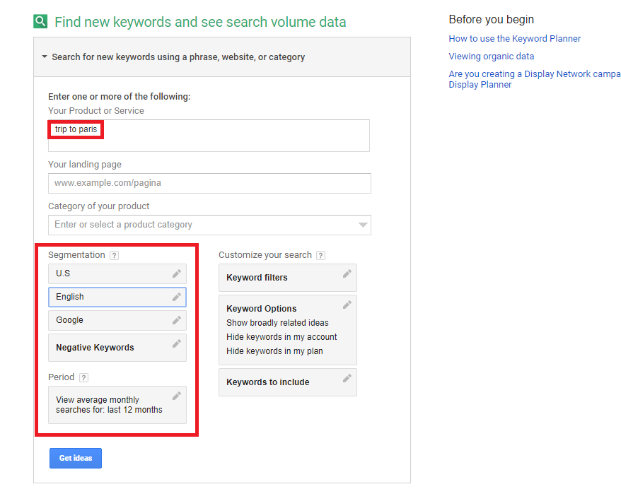 SEO - Image of Google Keyword planner search