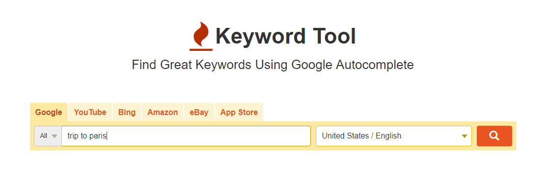 SEO - Image of Keyword Tool search