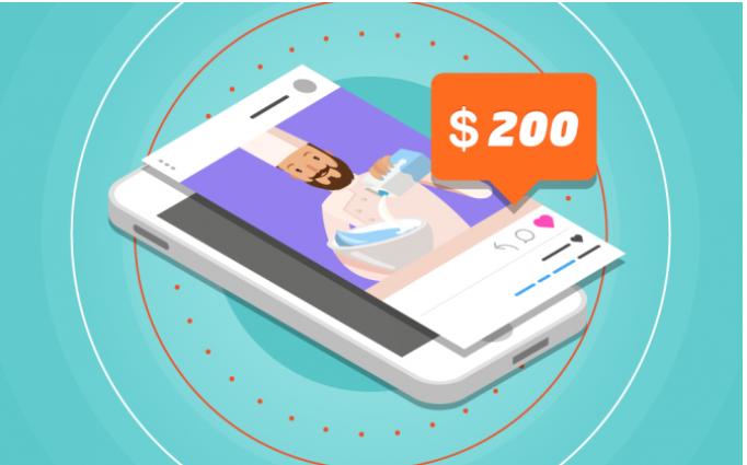 هاتف ذكي يتضمن تطبيق انستقرام على الشاشة، وبطاقة مكتوب عليها 200 دولار، أعلى الحاسوب، للإشارة إلى إمكانية البيع من خلال التطبيق