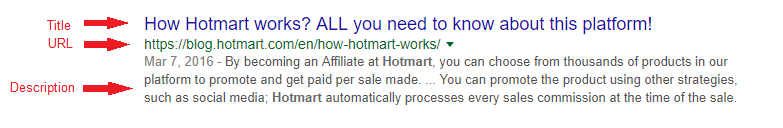 SEO - Example of snippet showed on Google's search result