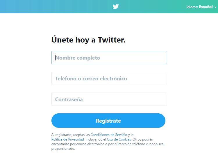 Cómo usar Twitter - pantalla de crear una cuenta en Twitter