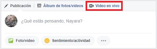 """streaming - home de Facebook indicando"""" video en vivo"""""""